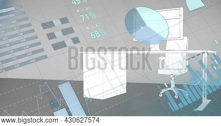 Image of financial data processing with statistics over desk with computer. global finance and business concept digitally generated image.
