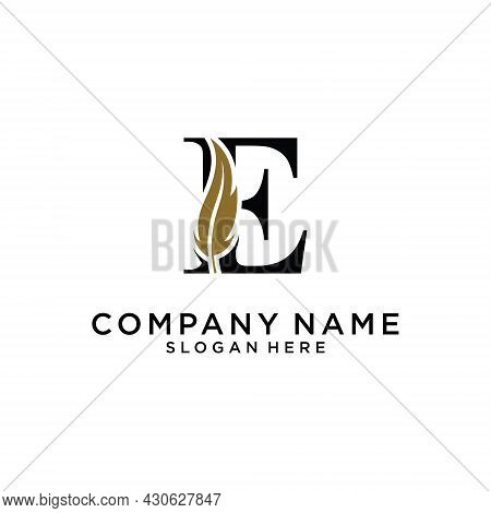 Initial Letter E Logo With Feather Concept. Design Concept Luxury Feather Element And Letter E For C