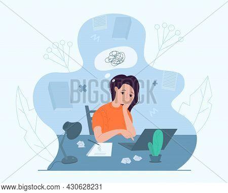 Female Writer Experiencing Creative Crisis, Vector Illustration. Anxiety, Fatigue, Headache, Stress,
