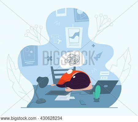 Female Designer Experiencing Creative Crisis, Vector Illustration. Anxiety, Fatigue, Headache, Depre