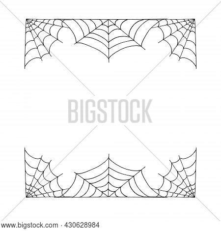 Spider Web Frame Border. Hand Drawn Doodle. Vector, Scandinavian, Nordic, Minimalism, Monochrome Car