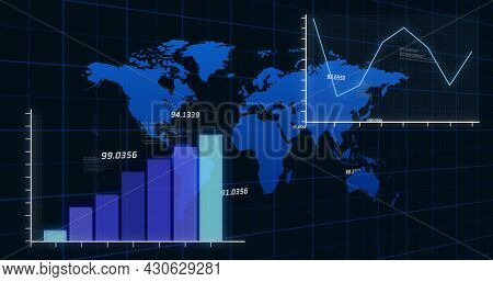 Image of financial data processing with statistics over world map. global finance and business concept digitally generated image.