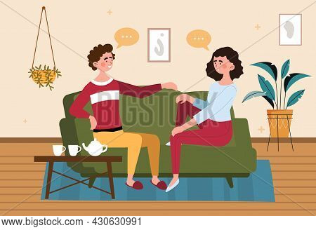 Family Relax At Home Concept. Happy Couple Sitting On Couch And Chatting. Man And Woman In Their Apa