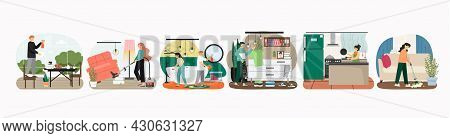 Home Cleaning Scene Set, Flat Vector Illustration. Housekeeping And Dishwashing Services. Daily Hous