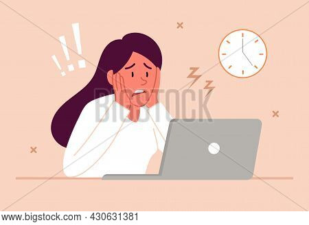 Stress At Work Concept. Tired Sad Busy Woman Sitting In Office At Laptop. Employee Worried About Bur