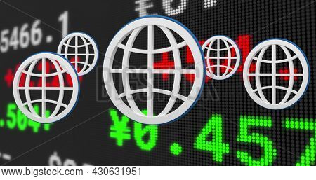 Image of stock exchange financial data processing and white globes. global finances network digital interface concept digitally generated image.