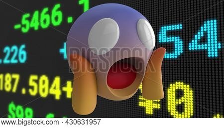Image of shocked emoji over stock exchange financial data processing. global finance technology digital interface concept digitally generated image.