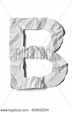 Crumpled Paper Texture Alphabet Letter B, White Creased Paper, Isolated On White Background.