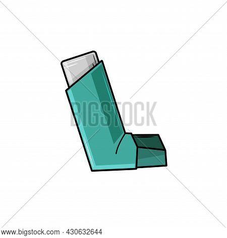 Medical Inhaler On A White Isolated Background. For Asthma. Inhalation Icon. Medicine Drug Cartoon V