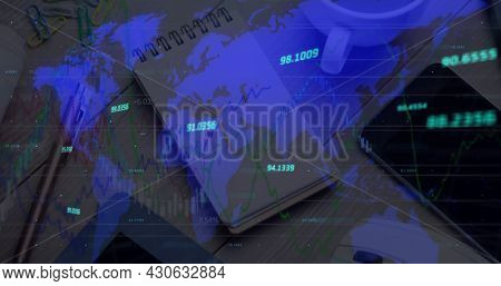 Image of numbers changing and data processing over world map. global finance and business concept digitally generated image.