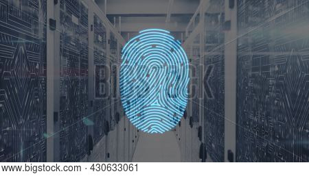 Image of digital interface with fingerprint over server room in background. Global digital network technology security concept digitally generated image.