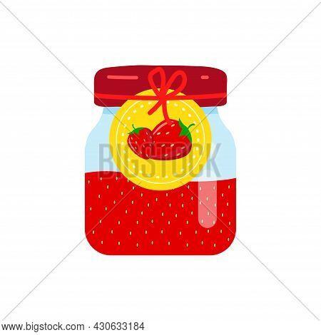 Label With Strawberries On A Jar Of Confiture. Closeup Glass Jar With Strawberry Jam.