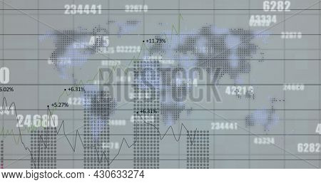 Image of financial data processing and numbers changing over world map. digital interface, global finance and business concept digitally generated image.
