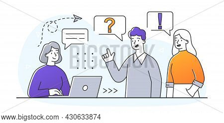 Faq Business Metaphor. Employee Answers Clients Of Company To Any Questions They May Have. Consultat