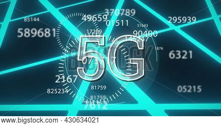 Image of 5g text and numbers changing over glowing blue lines background. Global network of connection and communication concept digitally generated image.
