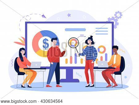 Online Business Conference. Analyst Team Works In Office. People Looking For Ways To Increase Compan