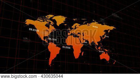 Image of orange world map with numbers floating above it on black background. global statistics and change concept digitally generated image.