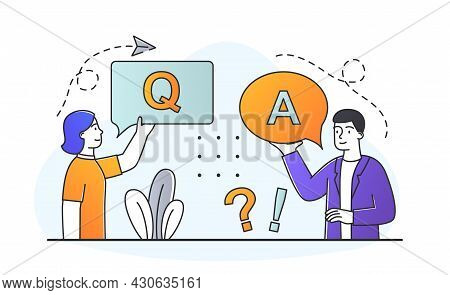 Questions And Answers. Girl Helps Client With Information. Technical Support, Faq. Concept Of Dialog
