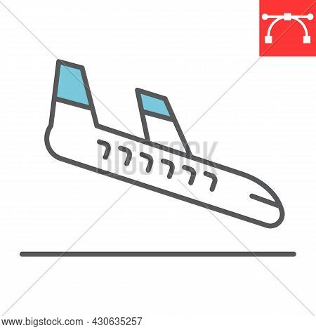 Airplane Landing Color Line Icon, Aircraft And Arrival, Airport Arrivals Vector Icon, Vector Graphic