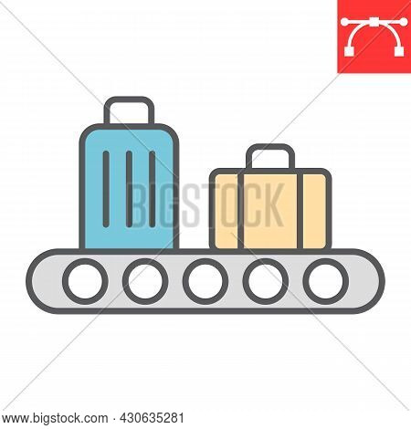 Baggage Claim Color Line Icon, Airport And Luggage, Baggage Claim Vector Icon, Vector Graphics, Edit