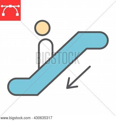 Escalator Down Color Line Icon, Information And Airport, Man On Escalator Vector Icon, Vector Graphi