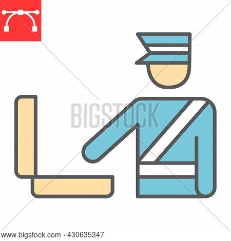 Customs Inspection Color Line Icon, Security Checkpoint And Airport, Luggage Control Vector Icon, Ve