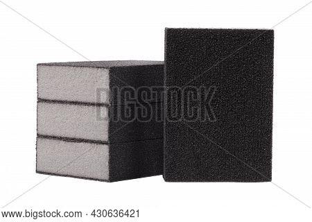Sanding Sponge Block Isolated On White Background. Abrasive Sponge Isolated On White Background. San