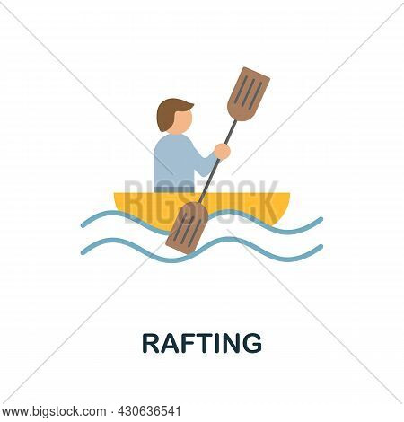 Rafting Icon. Flat Sign Element From Extreme Sport Collection. Creative Rafting Icon For Web Design,
