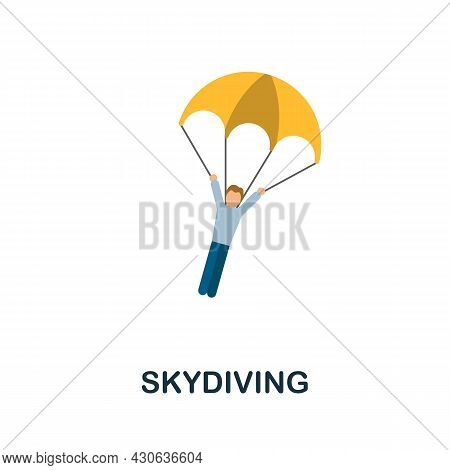 Skydiving Icon. Flat Sign Element From Extreme Sport Collection. Creative Skydiving Icon For Web Des