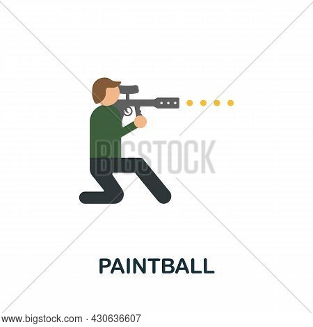 Paintball Icon. Flat Sign Element From Extreme Sport Collection. Creative Paintball Icon For Web Des