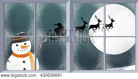 Image of snowman, silhouette of santa claus in sleigh being pulled by reindeer and winter christmas scenery with snow falling and full moon seen through window. christmas festivity celebration