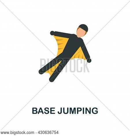 Base Jumping Icon. Flat Sign Element From Extreme Sport Collection. Creative Base Jumping Icon For W