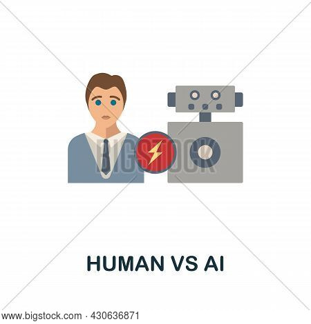 Human Vs Ai Flat Icon. Colored Sign From Futurictic Technology Collection. Creative Human Vs Ai Icon