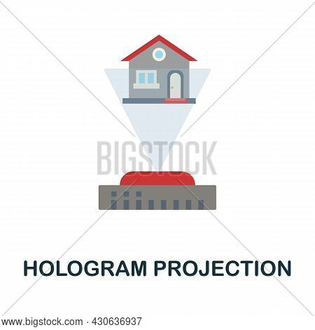 Hologram Projection Flat Icon. Colored Sign From Futurictic Technology Collection. Creative Hologram