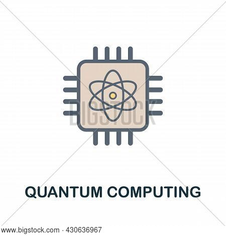 Quantum Computing Flat Icon. Colored Sign From Futurictic Technology Collection. Creative Quantum Co