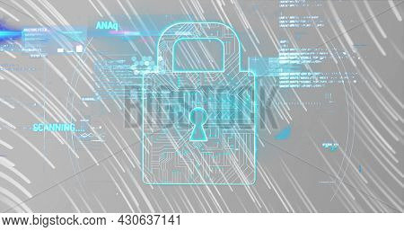 Image of digital interface with padlock and data processing over glowing lights. Global digital network technology security concept digitally generated image.