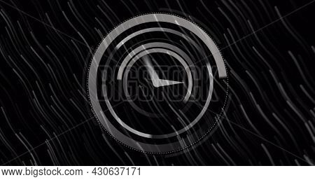 Image of digital interface with moving circles and clock over floating lights on black background. Global digital network technology concept digitally generated image.