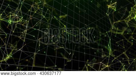 Image of digital interface with graph over floating network of connections on black background. Global digital network technology concept digitally generated image.