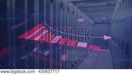 Image of digital interface with graphs and coronavirus cells over server room. Global digital network technology security concept digitally generated image.