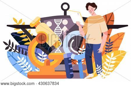 The Researcher Analysis His Biotechnology Research Document Using A Microscope Too , Biotechnology I