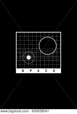 Space T-shirt And Apparel Design. Grid With Space Objects, Black Hole And Planet With Orbit, And Tit