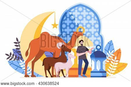 Idul Adha Card With Pattern The Man With Camel, Donkey With Mosque Silhouette Crescent Moon, Star
