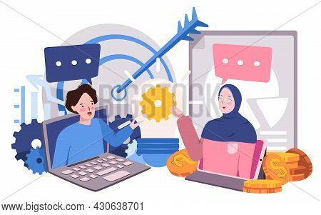 The Woman With Blue Dress Are Talking Business Their Target To Her Friend Asking Some Business Data,