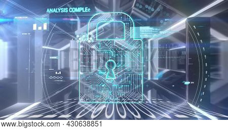 Image of digital interface with padlock and data processing over digital tunnel. Global digital network technology security concept digitally generated image.