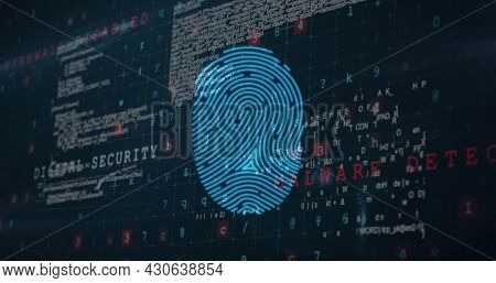 Image of digital interface with fingerprint over changing numbers and data processing on dark background. Global digital network technology security concept digitally generated image.