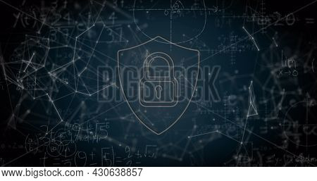 Image of digital interface with padlock over floating mathematical equations and network of connections. Global digital network technology security concept digitally generated image.
