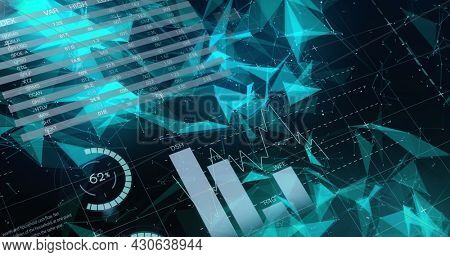 Image of digital interface with graphs and data processing over network of connections on black background. Global digital network technology concept digitally generated image.