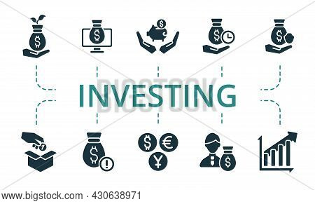 Investing Icon Set. Contains Editable Icons Theme Such As Investor, Investment Choice, Investment Pl