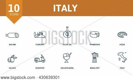 Italy Icon Set. Contains Editable Icons Italy Theme Such As Salami, Olive Oil, Pizza And More.