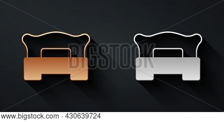 Gold And Silver Bedroom Icon Isolated On Black Background. Wedding, Love, Marriage Symbol. Bedroom C